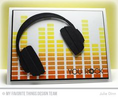 Keep on Rockin', Headphones Die-namics, Equalizer Stencil - Julie Dinn  #mftstamps