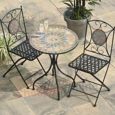 Mosaic Tabble Garden Table Dining Balcony Furniture 60 cm White Patio