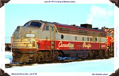 """On January 2nd, 1976 Ron Visockis photographed FP7A 4037 still in CPR Tuscan Red and Gray at StLuc Diesel shop, a tad shabby and missing her beaver shield. Over a year later on April 17 th, 1977, Doug Hately photographed CPR 4037 on a freight trailing freshly painted CP RAIL FP7A 4061 at Newtonville, ON. In 1977 this was the last F-unit to wear the old livery, and Doug's photo maybe the last one ever taken of #4037 in the CPR """"Script"""" paint scheme."""