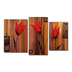 Hand-painted Floral Oil Painting with Stretched Frame - Set of 3 - Wall Art Ideas