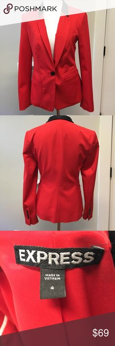 NWOT Express Red tuxedo blazer NWOT Express bright red tuxedo blazer. Slim fit. Beautiful. Have the red pants listed separately. Express Jackets & Coats Blazers
