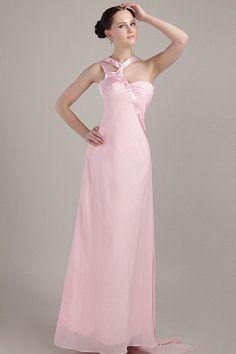 Zipper A-line Natural Chiffon Pink Floor-length Halter Sleeveless Evening Dress Cheap Graduation Dresses, Cheap Homecoming Dresses, Bridesmaid Dresses, Chiffon Evening Dresses, Evening Gowns, Silhouette, Celebrity Dresses, Wedding Gowns, Pink