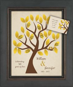 Alternative 40th Wedding Anniversary Gifts : ... Wedding Guest Book Alternative - 30 leaves - 25th or 40th Anniversary