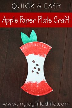I saw this super cute and super easy apple craft last year in my local wholesale… Summer Crafts, Fall Crafts, Arts And Crafts, Paper Plate Crafts For Kids, For Elise, Apple Art, Apple Theme, Shell Art, Preschool Crafts