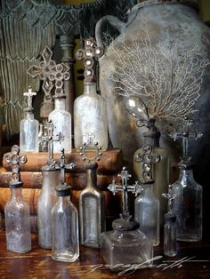 ∷ Variations on a Theme ∷ Collection of Vintage Cross Bottles - looks like they're by Isabeau Grey