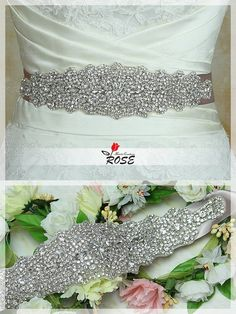 This is a gorgeous bridal sash that features tons of sparkling crystal rhinestones and silver glass beads! A perfect complement to any bridal