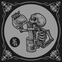 skeleton tries to drink illustration - Top 500 Best Tattoo Ideas And Designs For Men and Women Geniale Tattoos, Desenho Tattoo, Skull And Bones, Skull Art, Skull Logo, Blackwork, Stencils, Graffiti, Tattoo Designs