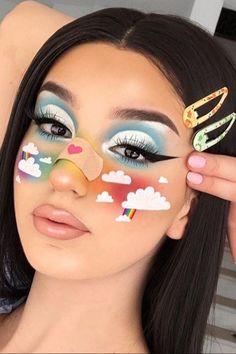 Maybe you're searching for cloud makeup because you saw it floating around the internet and you need some eye-catching beauty inspiration for weekend one of Makeup Eye Looks, Crazy Makeup, Pretty Makeup, Cool Makeup, Cute Makeup Looks, Face Paint Makeup, Eye Makeup Art, Makeup Glowy, Movie Makeup