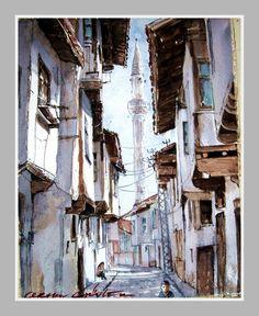 ORHAN GÜLER - Türkish Watercolor Artist Painter - Denizli Sarayköy Art Work Watercolor Artist, Arts And Crafts, Water Colors, City, Drawings, Art Work, Markers, Istanbul, Nature