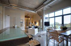 Best Kitchen Cabinets, Kitchen Tiles, Kitchen Flooring, Kitchen Island, Concrete Ceiling, Concrete Floors, Toronto Lofts, Rectangular Chandelier, Small Tiles