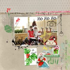 santa 2017 scrapbook page by Justine with The Lilypad products  #1photo