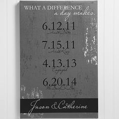 Show your special someone just how much you care with the Personalized Canvas Print - Special Dates - Wedding & Anniversary - medium. Find the best personalized romantic gifts at PersonalizationMall.com