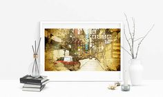 Hong Kong Printable Art  Painting Poster  Urban Room Decor