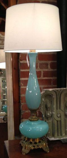 Vintage Opaline Lamp by Nancy Price Home  Interior Design Trends:  #vintage #blue #StyleSpotters #HPmkt  http://www.nancypriceinteriors.com/  Market Square G-35 ADC