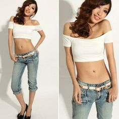 42dab699e22d8f 2016 Women's Casual Off-Shoulder Sexy Skintight Midriff T-Shirt Tops Crop  Retail/Wholesale