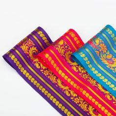 Neotrims Wide India Paisley Peacock Sari Salwar Kameez Craft Ribbon Material 9cm. Peacock Design Indian Ribbon, 9cms. Colourful and vibrant a traditional Sari ribbon Border with floral
