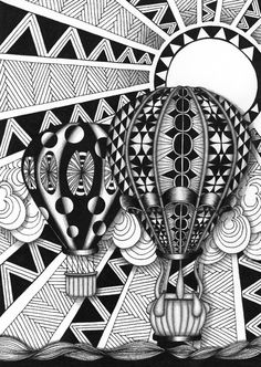 Zentangle inspired art: Hot Air Balloons 1 of 4 Size is 13 x 18 x in. Art Lessons, Doodle Art, Zentangle Drawings, Tangle Doodle, Art, Zentangle Art, Art Journal, Doodle Drawings, Zen Art