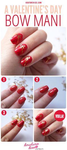 14 Christmas nail art tutorials you NEED in your festive life - Nails - Red Nail Art, Nail Art Diy, Easy Nail Art, Diy Nails, Bow Nail Designs, Pedicure Designs, Simple Nail Art Designs, Nails Design, Pretty Designs