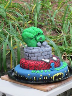 Superhero Cake - My first fondant cake-for my son's 3rd birthday.  This cake is the one that changed my life, this is what I want to do forever now!!