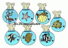 hidden mickey full collections   Disney DLR Hidden Mickey Pin Finding Nemo Fish Bag Set   eBay