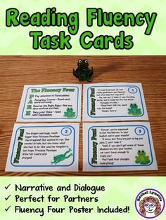 Your students will love these reading fluency cards! Engaging text includes both narrative and dialogue. Great for partners! Fluency Four poster included! $