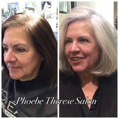 Favorite #beforeandafter. All day #colorcorrection. Guest had been covering her #gray #hair with #boxcolor and wanted to grow out her #color. The talented Therese and staff created a #beautiful #transformation #lppro #lorealprofessionnel #grannyhair #moviestarhair