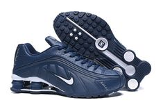 Nike Shox Dark Blue/White Men's Running Shoes - Running Shoes Nike Shoes Blue, Nike Shox Shoes, Nike Shox Nz, Nike Shoes Outlet, Sneakers Nike, Nike Trainers, Mens Nike Shox, Nike Shox For Women, Nike Men