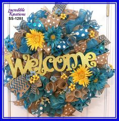 Burlap and Blue Wreath with Yellow Welcome sign ; Spring Welcome Wreath; Summer Welcome Wreath; Burlap Wreath; Decoration for Doors or Walls by IncredibleKreations on Etsy