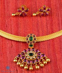 South Indian temple jewellery, gold plated temple jewelry antique The Advaya Silver Kempu Pendant Gold Temple Jewellery, Silver Jewellery Indian, Gold Jewellery Design, Silver Jewelry, Silver Ring, Bridal Jewelry, Baby Jewelry, Coral Jewelry, Silver Earrings