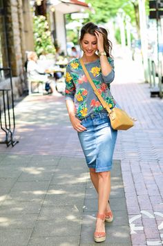 TROPICAL FEELINGS :: MIDI JEANSROCK & WEDGES - floral // flowers // sweater // chaser // denim skirt // midi // jeansrock // jeans // rock // mittellang // cute // casual // city // summer // look // wedges // Paul and Joe Sister // bag // outfit // look // style // fashion // shopping // inspo // chic // feminine // blogger // trends // 2016