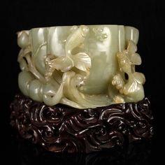Chinese Qing Dy Hetian Jade Lotus Goldfish Brush Washer