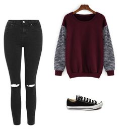 """Untitled #534"" by danieledepaula on Polyvore featuring Topshop, Converse, women's clothing, women, female, woman, misses and juniors"