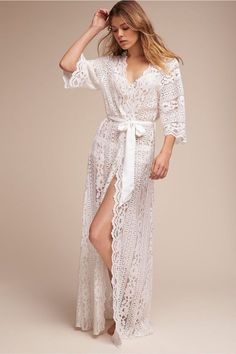 Love this Willow Lace Robe. Beautiful lace details and sleeves. For bride and wedding?