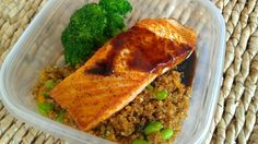 Teriyaki glazed salmon pic    Pan sauteed salmon with teriyaki glaze on stirfried soybean quinoa and steamed broccoli. Healthy meals with Weekly Meal Prep from personal chefs at www.friendthatcooks.com cooking service.