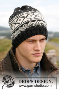 Reynald - Men's knitted hat with Nordic pattern in DROPS Karisma. - Free pattern by DROPS Design Knitting Patterns Free, Free Knitting, Free Pattern, Crochet Patterns, Drops Design, Bonnet Crochet, Knit Crochet, Crochet Hats, Knit Hat For Men