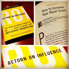 """Thanks @markwschaefer & @klout for """"Return On Influence."""" Look for me in the book. (pages 6-8) #Kloutperks #KXKW"""