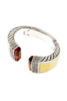 silver bangles and bracelets pinterest | Silver and Ivory Fossil Bracelet #women #jewelry #ladies #bracelet # ...