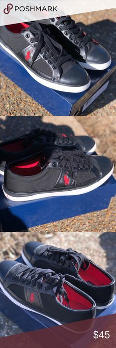 Ralph Lauren Polo Shoes New polo shoes for boys or men's size 9.5 blk/ red never worn with box if you want . Polo by Ralph Lauren Shoes Sneakers