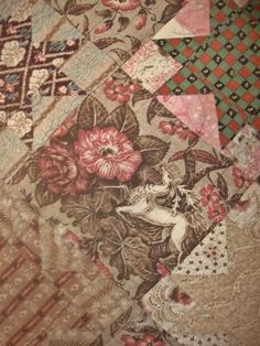 "c 1820 Antique Quilt Wonderful Examples of Early Chintz w Birds + Stags, + Prints; 92"" x 86""; poor condition, squares 8.5""; hand quilted and backed with heavy cotton or linen muslin; corner cutouts for bedposts; most of wear on edges, found in Maine"