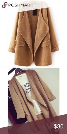 Drape cardigan Drape cardigan, camel color. Open front design, delicate seaming, and warm soft fabric (cotton wool blended)! Perfect for the fall🍂🍁🍃 Sweaters Cardigans