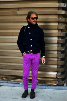 On the Street……Spring Knocking, Milan « The Sartorialist. Purple and black Mr Peacock, Ball Skirt, Sartorialist, Purple And Black, New Look, Fashion Forward, Milan, Menswear, Men Casual