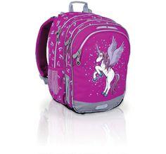 Plecak szkolny od 1 do 3 klasy. Z motywem, który uwielbiają dziewczynki- jednorożcem! Koń ma również skrzydła i brokatową grzywę. Bajeczny, prawda? :-)