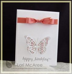 Smiling while Stamping: Wings Handmade birthday card using Avery Elle So Happy stamp set