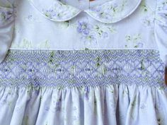 Lavender shabby roses hand smocked dress by ForTheLoveOfSmocking