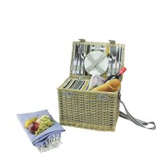 4-Person Hand Woven Warm Gray and Natural Willow Insulated Picnic Basket Set with Accessories, Grey (Wood)
