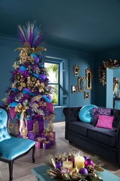 Unque Colorful Pink Purple Blue And Gold Xmas Tree Decorations With Gift And Gold Mongstad Mirror In Elegant Indoor Blue Painted Wall For Enchanting Xmas Home Decoration Ideas. Adorable Xmas Tree Decorations Ideas For You Noel Christmas, All Things Christmas, Christmas Themes, White Christmas, Modern Christmas, Turquoise Christmas, Christmas Colors, Coastal Christmas, Elegant Christmas