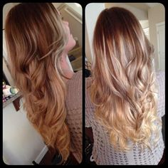 Love what boredatwork228 is doing with this balayage ombre. Wella hair color and messy curls.