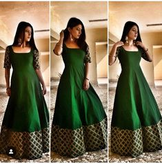 Indian gowns dresses - Keep calm and go green💚 Dress Earrings vogue store Lehenga Designs, Half Saree Designs, Kurti Designs Party Wear, Frock Design, Long Gown Dress, The Dress, Frock Dress, Designer Anarkali Dresses, Designer Dresses