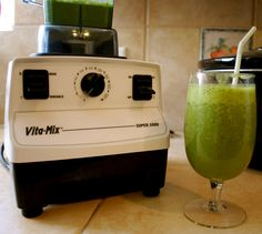 I love my vita-mix and my green smoothies! This is my favorite recipe for it 'cause it tastes delicious! Serving for 2 or 1 if you want to drink it all: 2 cups of water (or Almond milk, my fav in the morning) a cup of romaine, a cup of spinach, 2 stalks celery, 1 apple (cored), 1 pear (cored) and lemon juice (to taste, if not using milk). yummy! #vitamix #green #smoothie