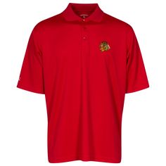 17588929d Chicago Blackhawks Men s Red Exceed Polo with Indian Head Logo by Antigua   Chicago  ChicagoBlackhawks